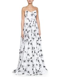 Tracy Reese Sleeveless Floral-Print Organza Ball Gown - Lyst