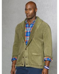 Ralph Lauren Weathered Shawl Cardigan - Lyst