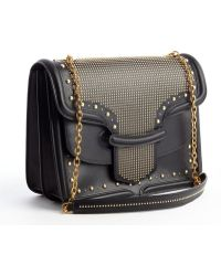 Alexander McQueen Black Leather Gold Studded Heroine Satchel - Lyst