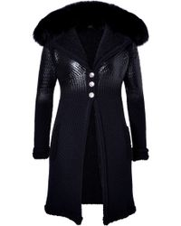 Versace Wool-Alpaca Knit Coat With Fur Lining - Lyst