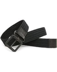 Selected | Black Woven Belt With Leather Detail | Lyst