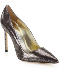 Manolo Blahnik Bb Metallic Suede Pumps - Lyst