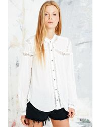 Free People Every Girl Blouse in Ivory - Lyst