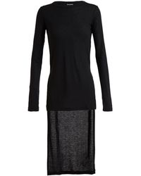 Ann Demeulemeester Stretch Wool Top with Long Back - Lyst