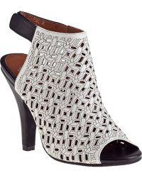 Jeffrey Campbell Norene Open-Toe Bootie Black/White Leather white - Lyst