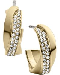 Michael Kors Goldtone Crystal Twisted Hoop Earrings - Lyst