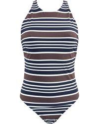 Tory Burch Striped-Swimsuit - Lyst