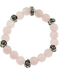 King Baby Studio 10Mm Rose Quartz Four Roses Bracelet - Lyst