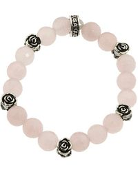 King Baby Studio 10Mm Rose Quartz Four Roses Bracelet pink - Lyst