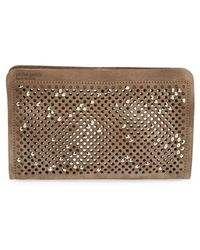 Pedro Garcia Women'S Swarovski Crystal Studded Suede Clutch - Brown - Lyst