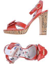 Kenzo Red Platform Sandals - Lyst