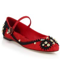 Dolce & Gabbana Embellished Brocade Mary Jane Flats - Lyst