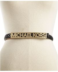 Michael Kors Michael Quilted Mk Plaque Belt - Lyst