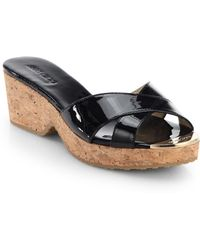 Jimmy Choo | Panna Patent Leather Cork Wedge Slides | Lyst