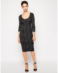 Oasis Animal Print Bodycon Midi Dress - Lyst