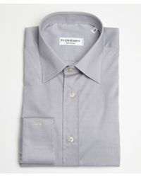 Saint Laurent Light Grey Cotton Point Collar Dress Shirt - Lyst