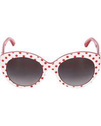 Dolce & Gabbana Rounded Cat-Eye Polka Dot Sunglasses - Lyst