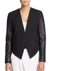 Helmut Lang Cropped Leather Paneled Tuxedo Blazer - Lyst