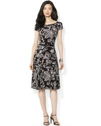 Lauren by Ralph Lauren Petite Shortsleeve Belted Paisleyprint Dress - Lyst