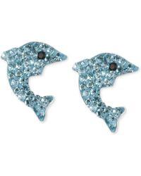 Betsey Johnson Silvertone Blue Pavé Dolphin Stud Earrings - Lyst