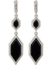 Judith Ripka - Modern Deco Double Drop Onyx Earrings - Lyst