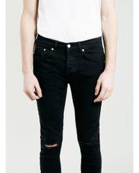 Topman Black Ripped Knee Stretch Skinny Fit Jeans - Lyst