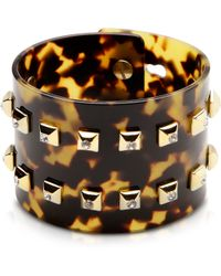 Pluma - Resin And Brass Double Viti Large Bangle W/crystals - Lyst