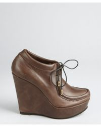 Ritch Erani Nyfc Brown Leather Wedge Booties - Lyst