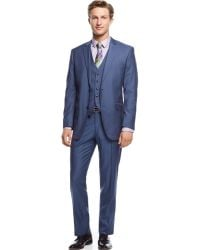 Perry Ellis Blue Sharkskin Vested Slim-Fit Suit - Lyst