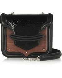 Alexander McQueen The Heroine Mini Patent-leather Oak and Calf Hair Shoulder Bag - Lyst