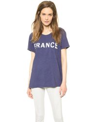 Textile Elizabeth And James France Bowery Tee Dark Bluewhite - Lyst