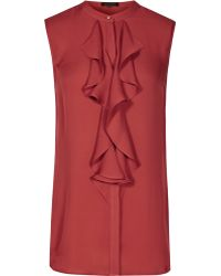 Reiss | Elias Ruffle-front Top | Lyst