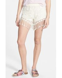 Mimi Chica - Fringe Crochet Shorts - Lyst