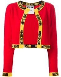 Moschino Label Tape Cropped Cardigan - Lyst