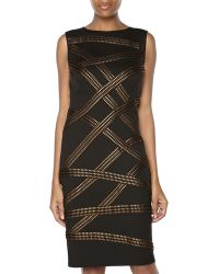Tadashi Metallic Ribbon Crisscross Cocktail Dress Blackbronze Medium - Lyst