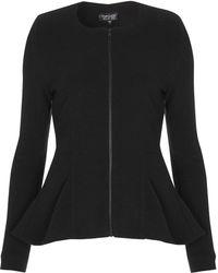 Topshop Ribbed Slim Peplum Jacket  - Lyst