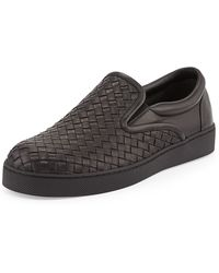 Bottega Veneta Woven Leather Slipon Sneaker - Lyst