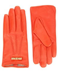 Ted Baker Bow Detail Leather Gloves - Lyst