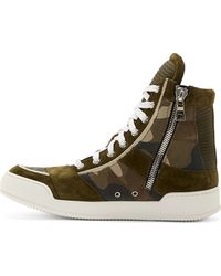 Balmain Khaki Camo High_top Sneakers - Lyst