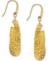 Tru. - T.ru. Gold-tone Oval Nugget Crystal Drop Earrings - Lyst