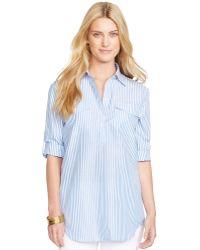 Lauren by Ralph Lauren Linen Bengal Stripe Shirt - Lyst