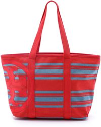 Tory Burch Beach Stripe Small Zip Tote - Tory Navy Awning Stripe - Lyst
