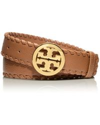 Tory Burch - Marion Whipstitched Logo Belt - Lyst