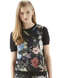 Gucci Flora Knight-Print Silk Top - Lyst