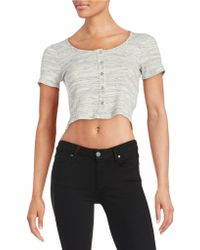 Lord + Taylor Ribbed Crop Top - White