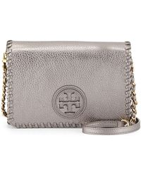 Tory Burch Marion Metallic Combo Crossbody Bag Gunmetal - Lyst