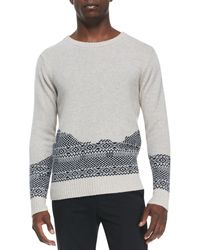 Band Of Outsiders Brokenfair Isle Crewneck Sweater - Lyst