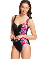 Miraclesuit Floral-Print Surplice One-Piece Swimsuit - Lyst