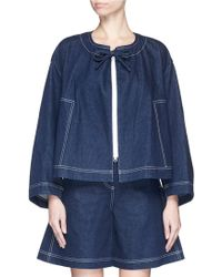 ShuShu/Tong - Lace-up Sleeve Denim Jacket - Lyst
