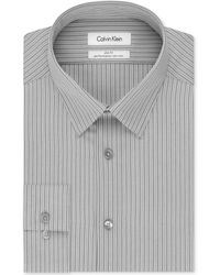 Calvin Klein Steel Slim-Fit Non-Iron Shadow Stripe Performance Dress Shirt - Lyst
